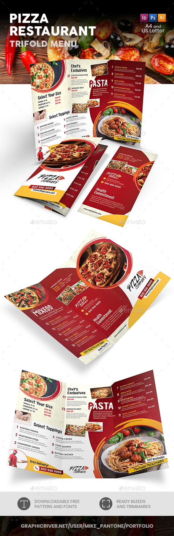 Pizza Restaurant Trifold Menu 2 - Food Menus Print Templates
