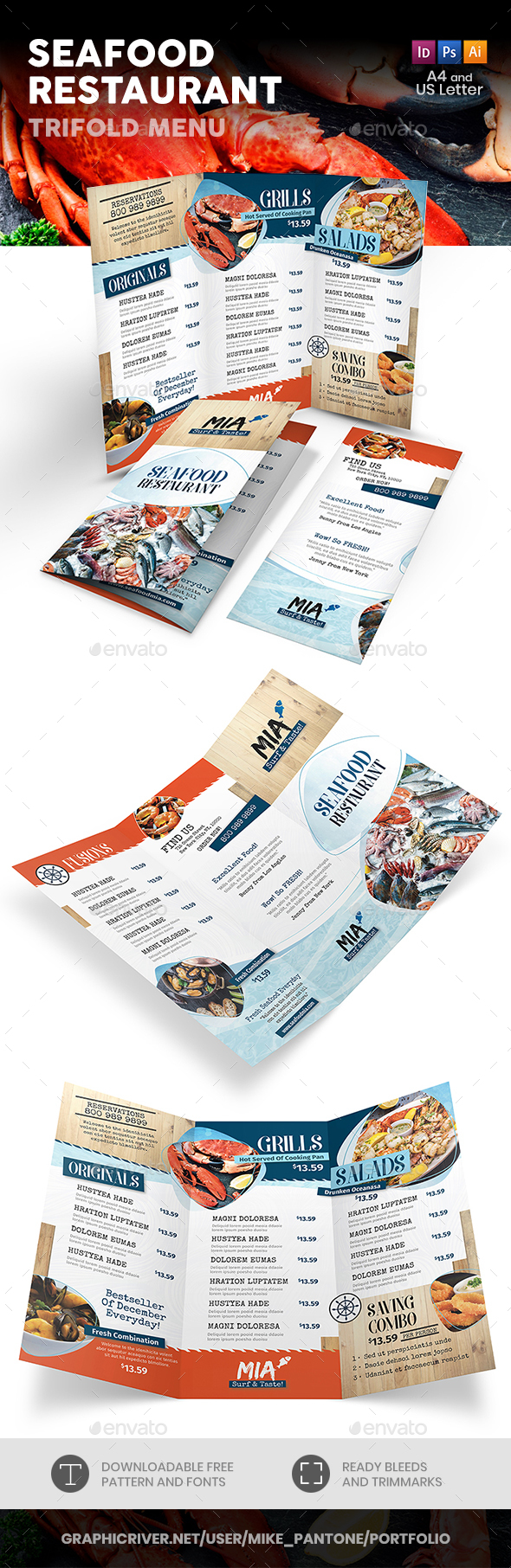 Seafood Restaurant Trifold Menu 3