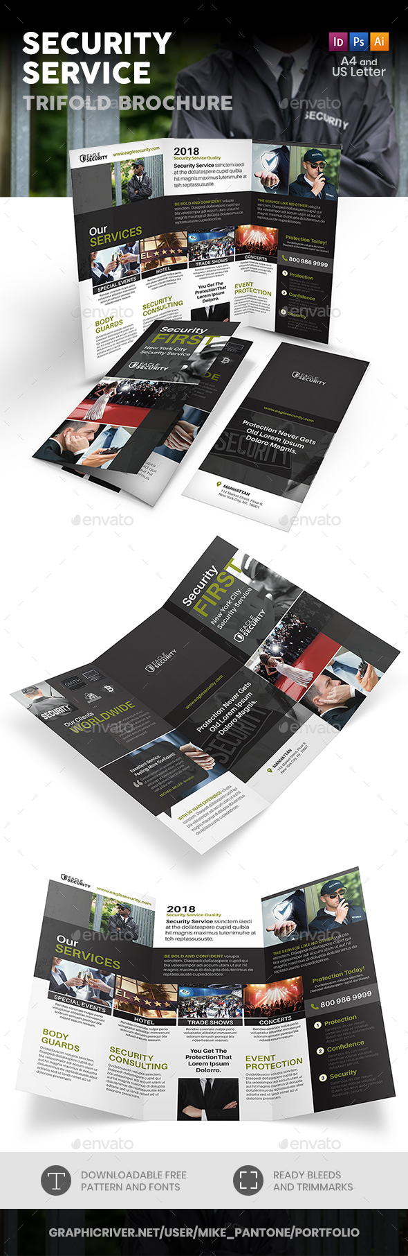 Security Guard Service Trifold Brochure - Informational Brochures