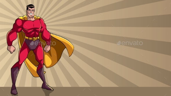 Superhero Standing Tall Ray Light Background - People Characters