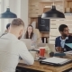 Serious Employees Talk To Unrecognisable Female Boss at Meeting. Office Workers Talk To CEO at Loft - VideoHive Item for Sale