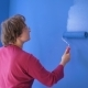 Woman Doing Wall Painting with Blue Paint Standing on the Ladder - VideoHive Item for Sale