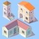 Vector Isometric Residential Buildings in Cartoon