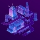 Vector 3d Isometric Megapolis in Ultraviolet