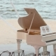 White Grand Piano Standing on the Beach at Wedding Ceremony - VideoHive Item for Sale