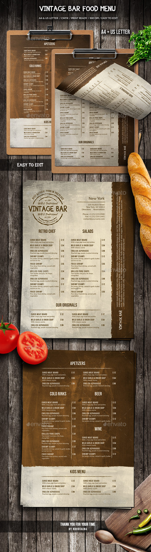 Vintage Bar Food Menu Design A4 & US Letter
