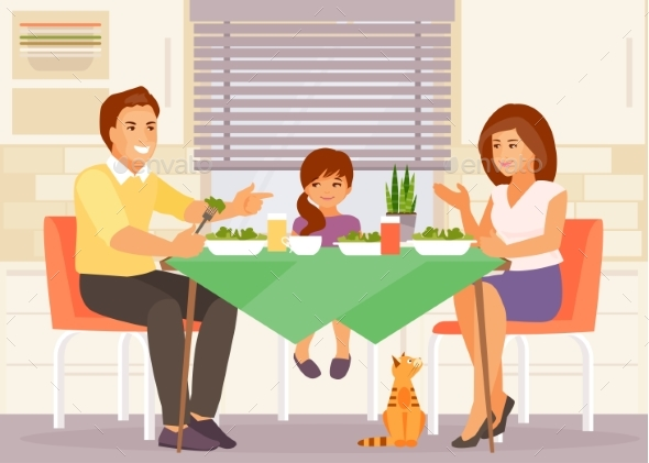 Family Dinner Vector - People Characters