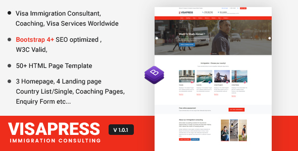 Visapress an Immigration and Visa Consulting Website Template - Site Templates