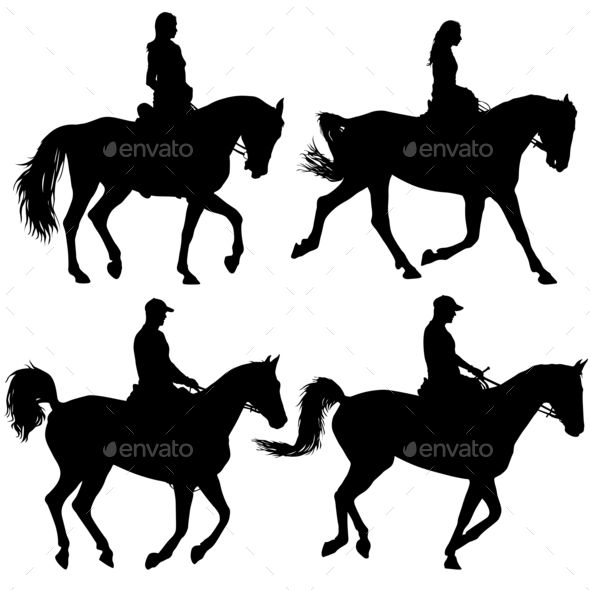 Set black silhouette of horse and jockey - Stock Photo - Images
