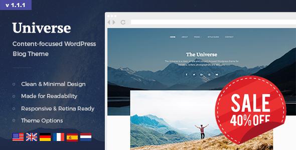 Universe - Clean, Simple & Minimal WordPress Blog Theme for Writer, Travel, Gallery, Lifestyle etc. - Personal Blog / Magazine