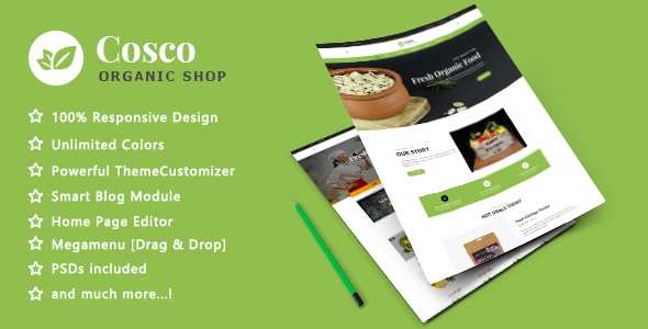 Cosco - Organic Fresh Food Responsive Prestashop 1.7 Theme