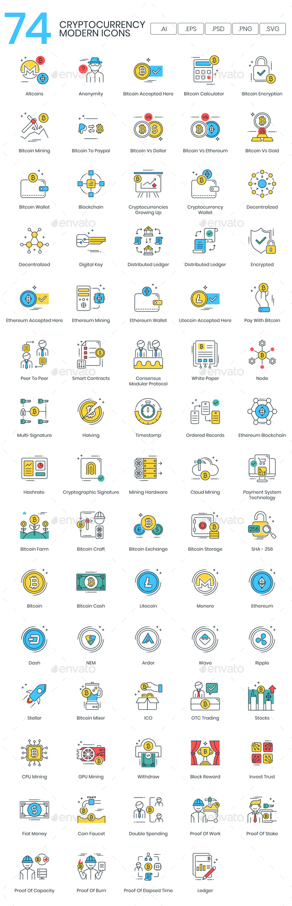 Bitcoin & Cryptocurrency Icons - Web Icons