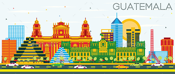 Guatemala Skyline with Color Buildings and Blue Sky. - Buildings Objects