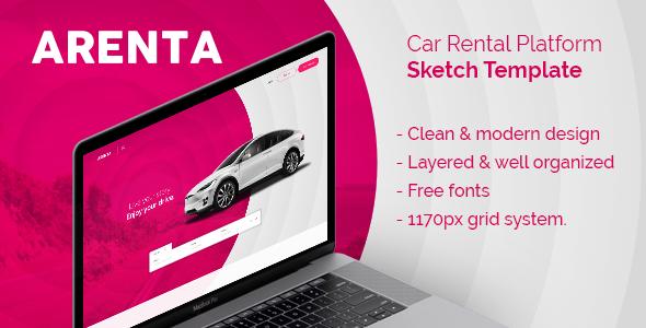 Arenta - Car Rental Platform Sketch Template - Sketch Templates