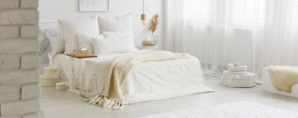 White bedroom interior - Stock Photo - Images