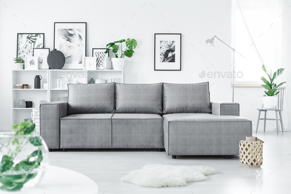Grey corner sofa - Stock Photo - Images