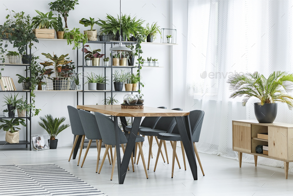 Floral dining room interior - Stock Photo - Images