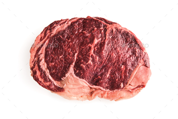 Marbling ribeye steak isolated
