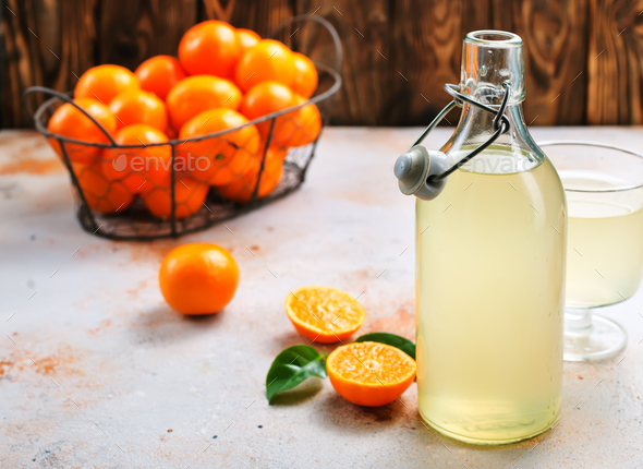 tangerines and tangerine juice - Stock Photo - Images