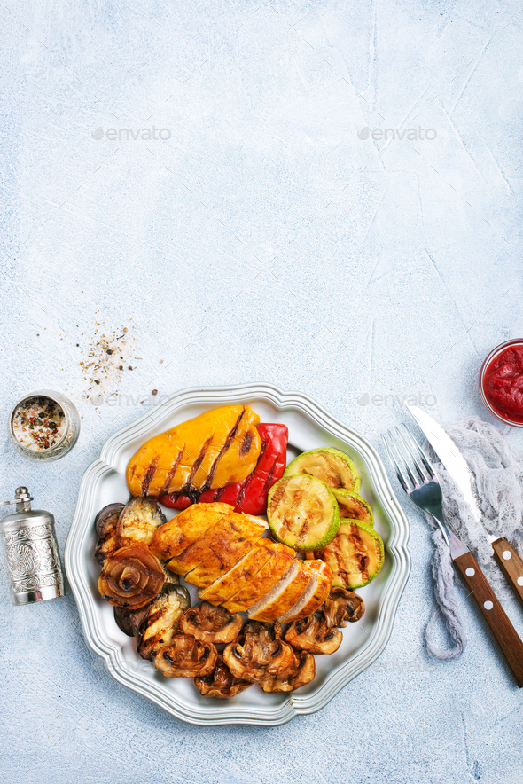 chicken barbecue and grilled vegetables - Stock Photo - Images