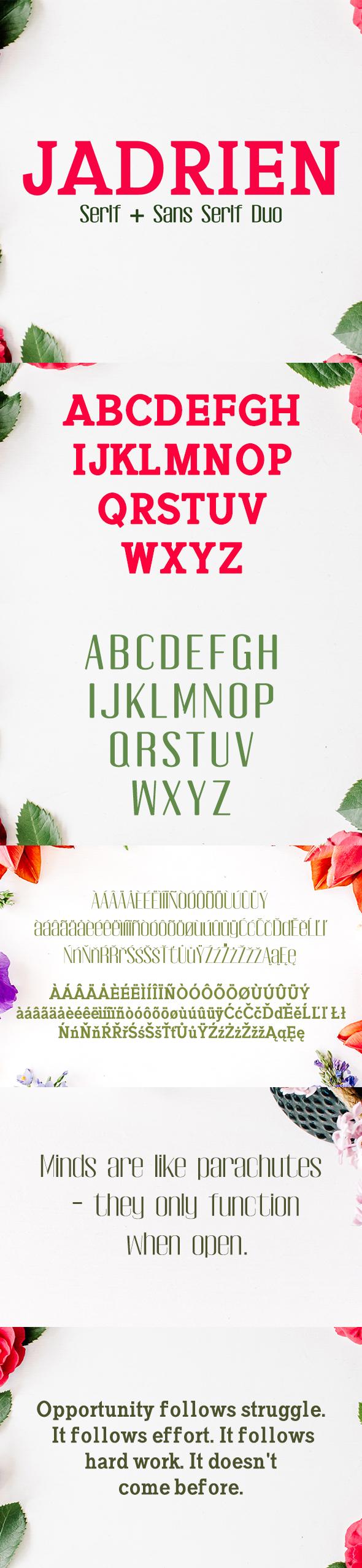 Jadrien Serif + Sans Duo 5 Font Pack - Sans-Serif Fonts