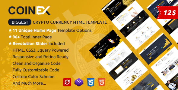 COINEX - Bitcoin And Crypto Currency HTML Template - Corporate Site Templates
