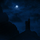 Castle In The Mountains With Full Moon Above - VideoHive Item for Sale