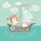 Happy Girl with Her Unicorn Boating at Their Ship - GraphicRiver Item for Sale