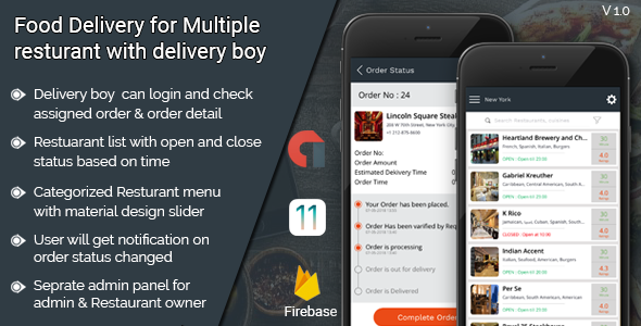 Food Delivery for multiple restaurant with delivery boy IOS  application            Nulled