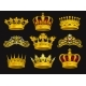 Realistic Vector Set of Golden Crowns and Tiaras