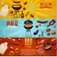 Barbecue Grill Elements Set Isolated on Red - GraphicRiver Item for Sale