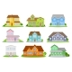 Flat Vector Set of Colorful Houses with Green