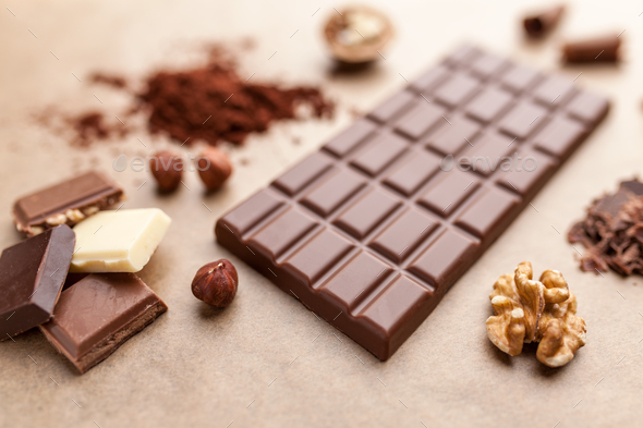 Delicious chocolate bar and ingredients - Stock Photo - Images