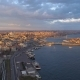 Aerial Drone Shot of Sunrise in Istanbul, Turkie. From Above, City Centre, Downtown. Bosphorus. - VideoHive Item for Sale