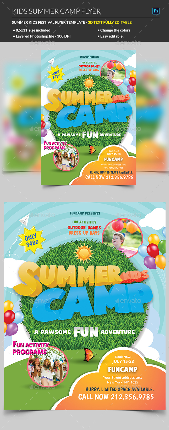 Kids Summer Camp Flyer - Corporate Business Cards