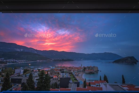 Sunset over Budva - Stock Photo - Images