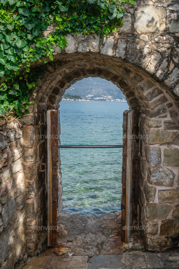 View of the sea from the fortress window - Stock Photo - Images