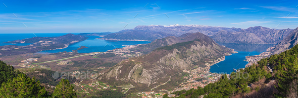 Stunning landscape of the Bay of Kotor - Stock Photo - Images