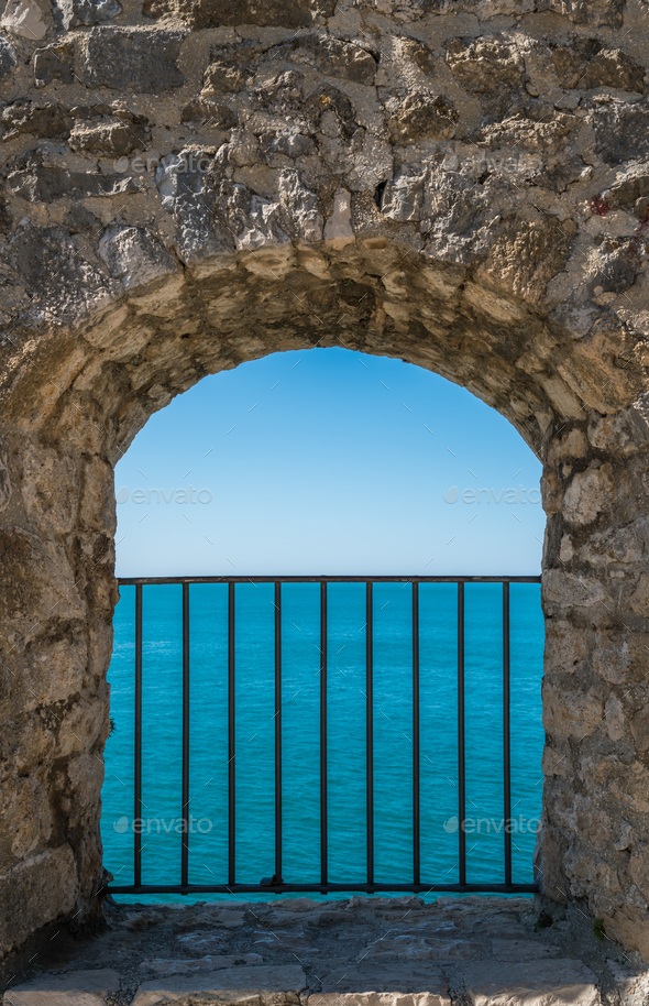 Window to the blue sea - Stock Photo - Images