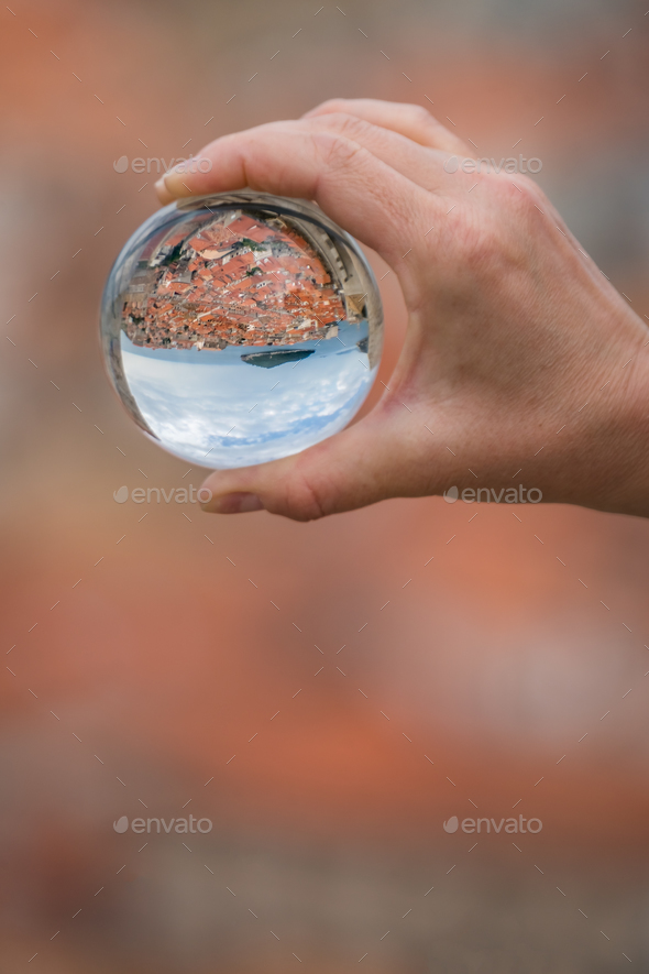 Dubrovnik Old Town in a glass ball - Stock Photo - Images