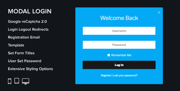 Modal Login Register Forgotten Wordpress Plugin - CodeCanyon Item for Sale