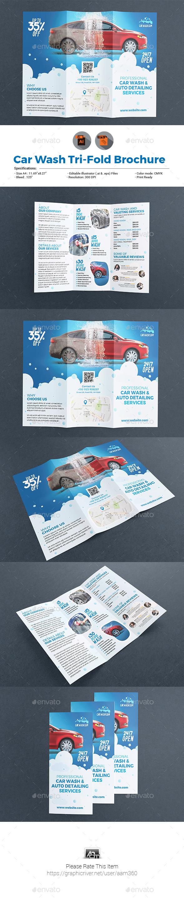 Car Wash Tri-fold Brochure Template - Brochures Print Templates