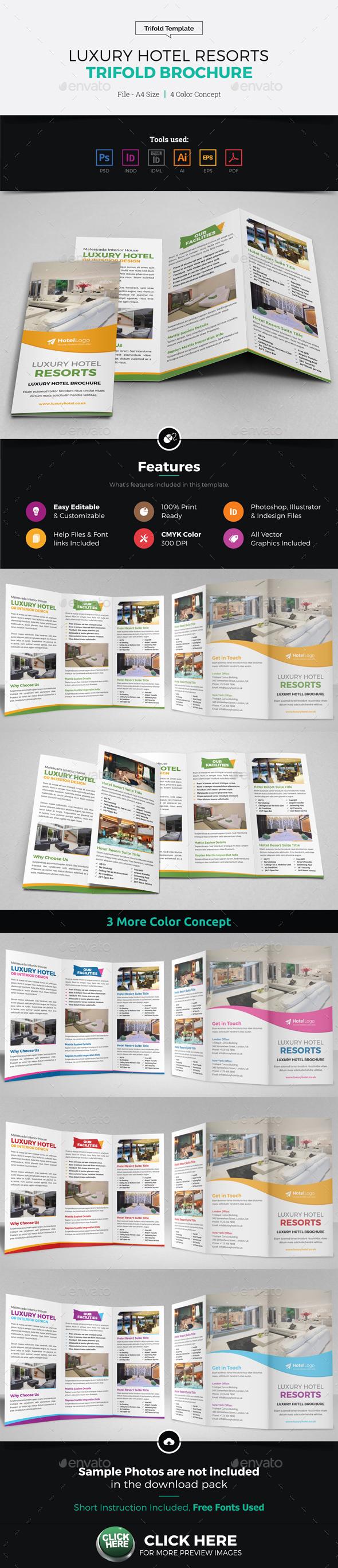 Luxury Hotel Resort Trifold Brochure - Corporate Brochures