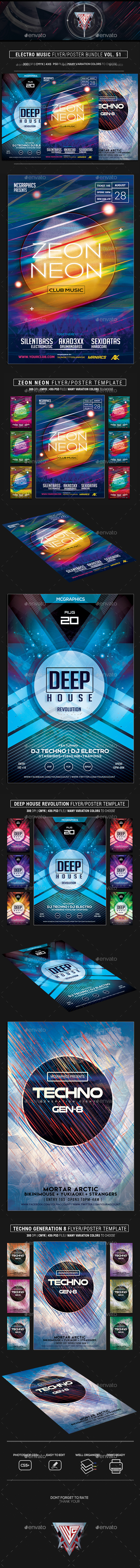 Electro Music Flyer Bundle Vol 51 - Flyers Print Templates