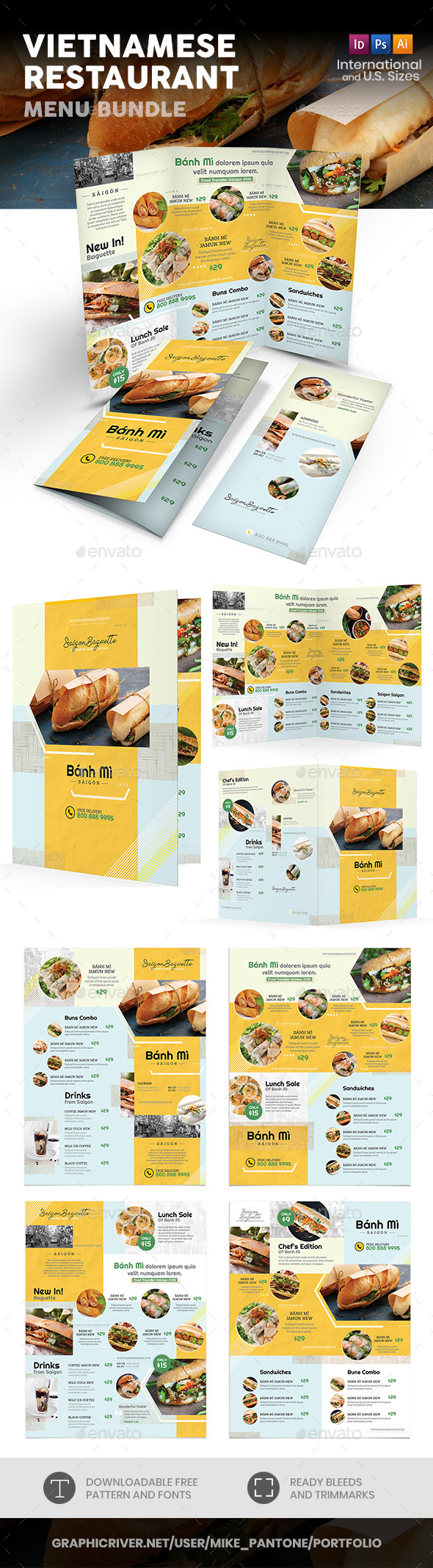 Vietnamese Restaurant Menu Print Bundle 4 - Food Menus Print Templates