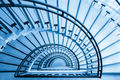 spiral staircase closeup, view from the top down, blue tone - PhotoDune Item for Sale