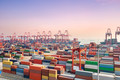 container yard and deep water wharf in sunset - PhotoDune Item for Sale