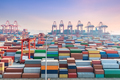 shanghai container terminal in sunset, container yard and  ocean steamer is loading and unloading - PhotoDune Item for Sale