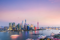 shanghai skyline against a rosy sky in nightfall - PhotoDune Item for Sale