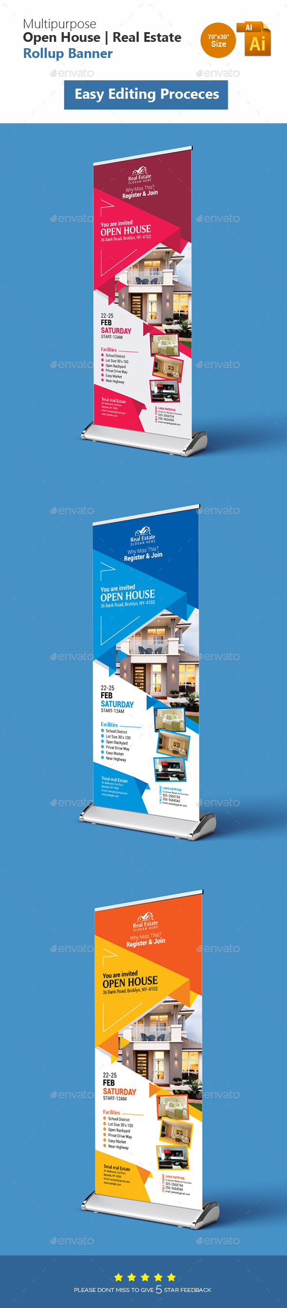 Open House Real Estate Rollup Banner - Corporate Flyers